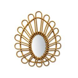 Small Rattan Vintage Mirror Ovale Bakker