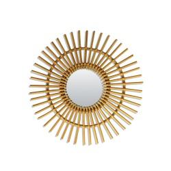 Petit Miroir Vintage Soleil Rotin Bakker