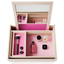 Boite à Bijoux Maquillage Coiffeuse Balsabox Naturel et Rose Nomess Copenhagen