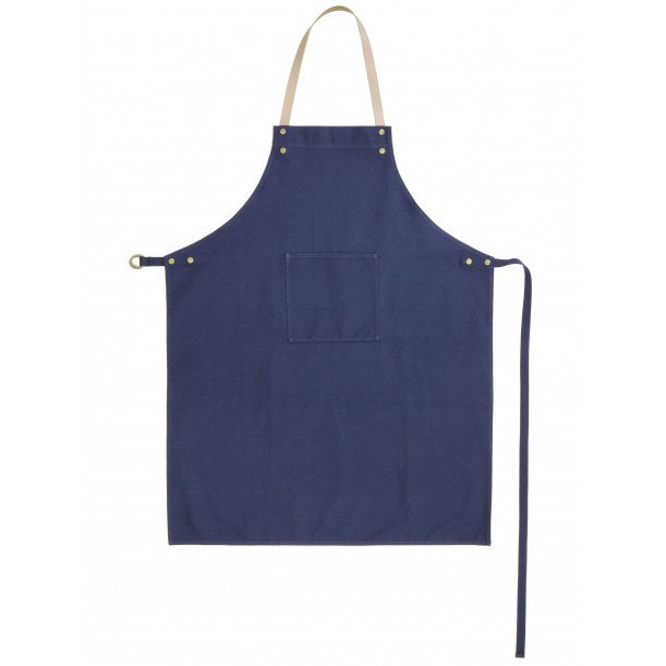 Apron Blue Canvas and Leather Ferm Living