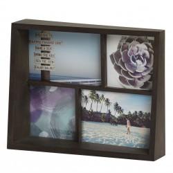 Edge Multi Desk Frame Walnut for 4 Photos Umbra