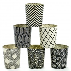 6 Candle Jars White and Black Pattern Serax