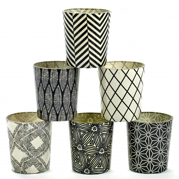 6 Candle Jars White and Black Pattern Serax