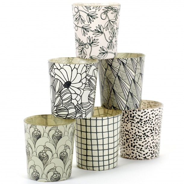 6 Candle Jars Black and White Flowers Lines and Dots Serax