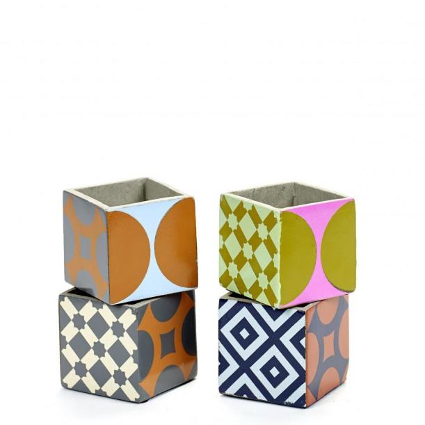 4 Pots Béton Cubique Marie 7,5 x 7,5 x 7,5 cm Serax