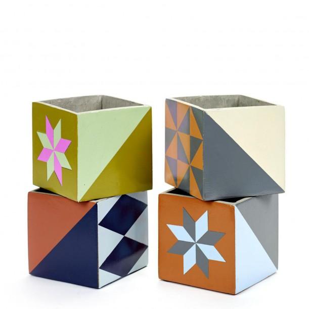 4 Concrete Pots Marie 13 x 13 x 13 cm Serax