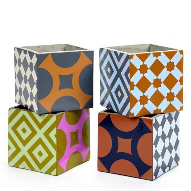 4 Pots Béton Cubique Marie 15 x 15 x 15 cm Serax