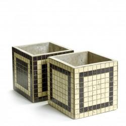 2 Concrete Pots Marie Mosaic Square 15 x 15 x 15 cm Serax