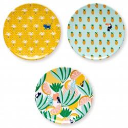 3 Jungle Plates melamine Bandjo