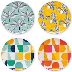 4 Plates Summertime melamine Mr & Mrs Clynk