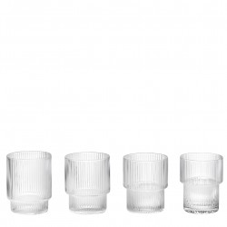 Ripple Glass Stackable Diam 7 cm Set of 4 Ferm Living