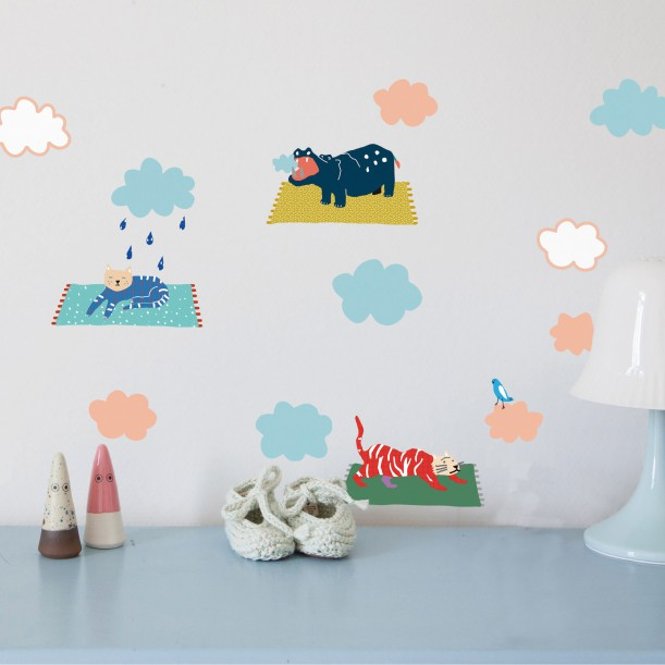 Sticker Mural Just a Touch Animals in The Sky Mimilou