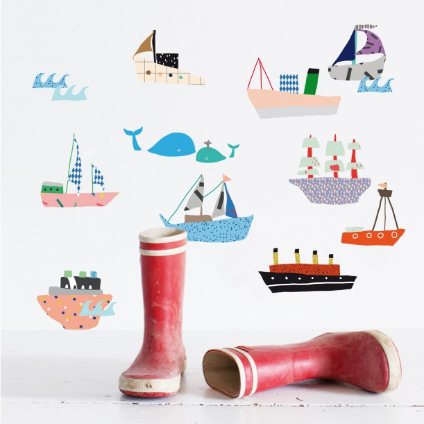 Wall Sticker Just a Touch Boats Mimilou