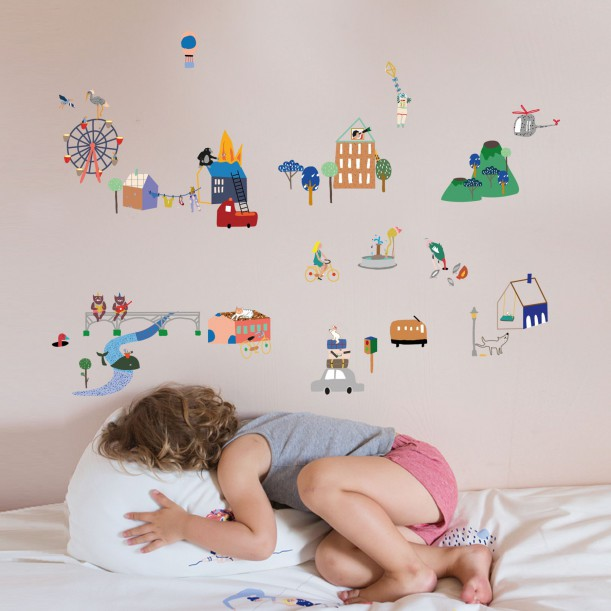 Sticker Mural City Mimilou