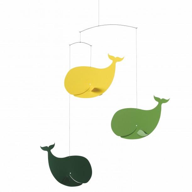 Mobile Baleines Heureuses Vert et Jaune Flensted Mobiles