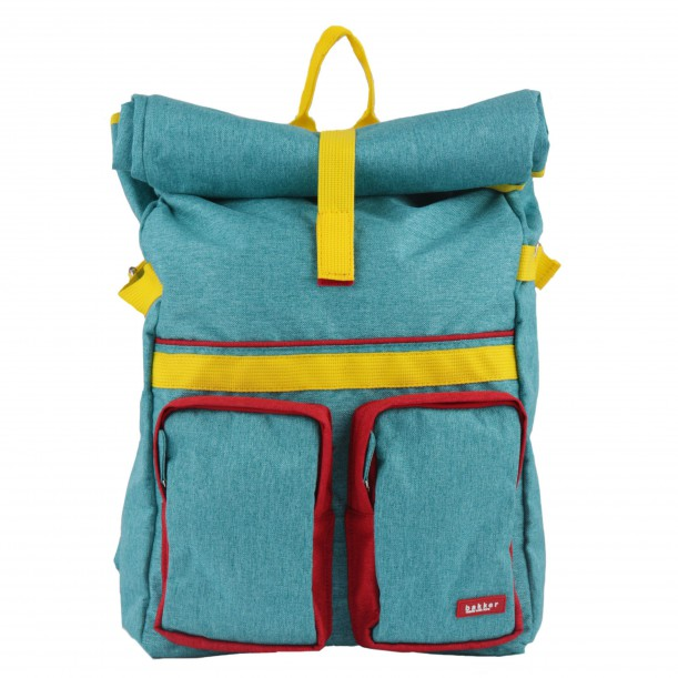 Large Backpack ROLLUP Turquoise 46 x 33 x 12 cm Bakker