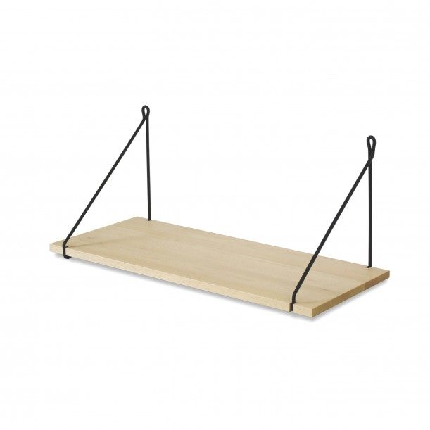 Vintage Shelf Natural Beech 60 x 25 cm with black metal brackets Archiv Collection