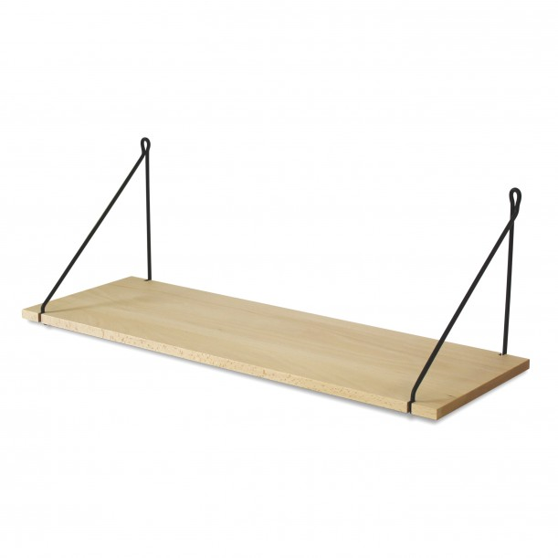Vintage Shelf Natural Beech 75 x 25 cm with black metal brackets Archiv Collection