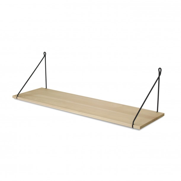 Vintage Shelf Natural Beech 90 x 25 cm with black metal brackets Archiv Collection