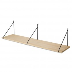 Vintage Shelf Natural Beech 105 x 25 cm with black metal brackets Archiv Collection