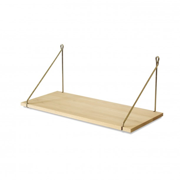 Vintage Shelf Natural Beech 60 x 25 cm with brass brackets Archiv Collection