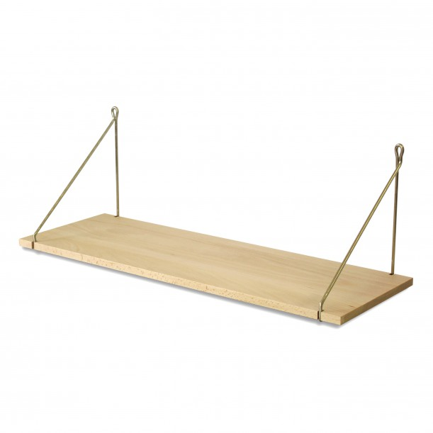 Vintage Shelf Natural Beech 75 x 25 cm with brass brackets Archiv Collection