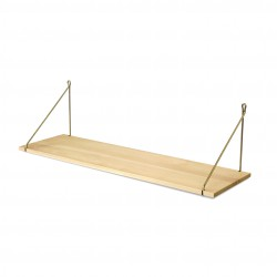 Vintage Shelf Natural Beech 90 x 25 cm with brass brackets Archiv Collection