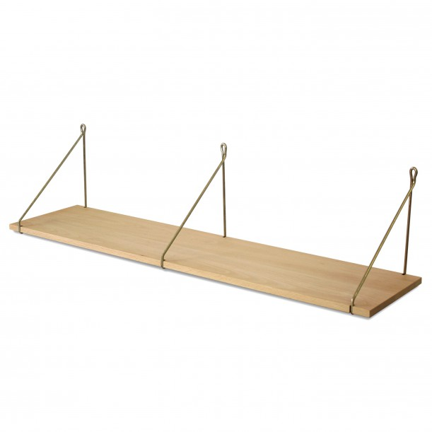 Vintage Shelf Natural Beech 105 x 25 cm with brass brackets Archiv Collection