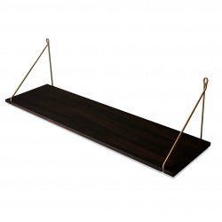 Vintage Shelf Dark Beech 90 x 25 cm with brass brackets Archiv Collection