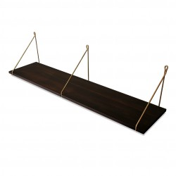 Vintage Shelf Dark Beech 105 x 25 cm with brass brackets Archiv Collection