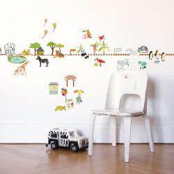 Sticker Mural Frise Balade au Zoo Mimilou