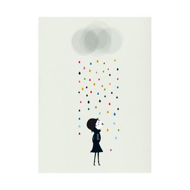 Print Mademoiselle under the Rain Blanca Gomez