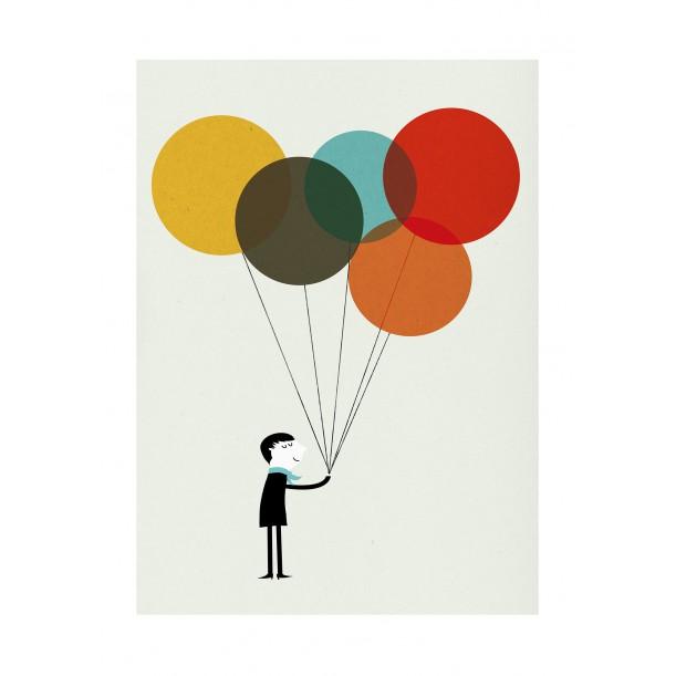 Affiche Monsieur II ballons couleurs Blanca Gomez