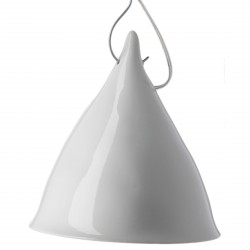 Large Cornette Pendant Lamp White Glazed Porcelain Tsé & Tsé