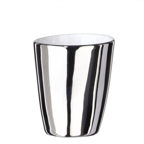 Expresso Cup Assoiffée Porcelain Glossy White and Platinum Diam 5 cm Tsé & Tsé