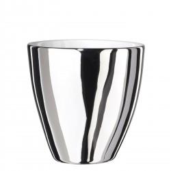 Tasse à Café Assoiffée Porcelaine Blanc Brillant et Platine Diam 7 cm Tsé & Tsé