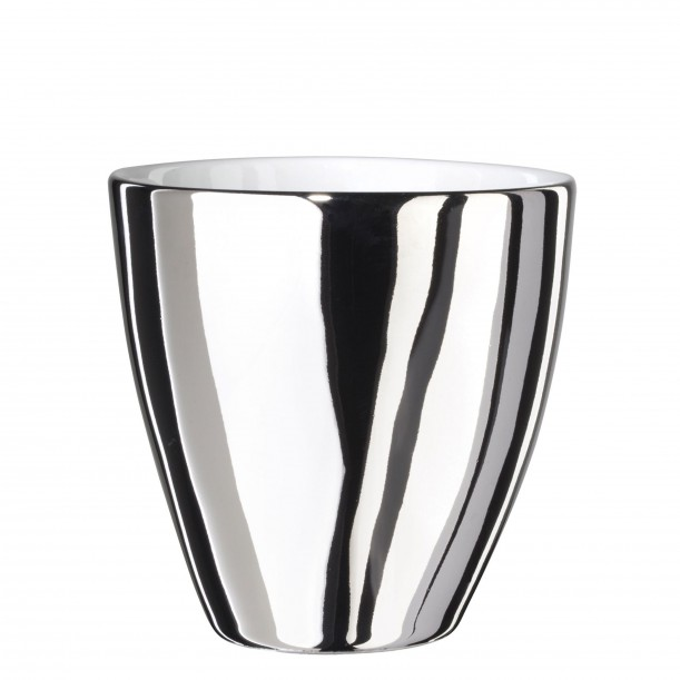 Coffee Cup Assoiffée Porcelain Glossy White and Platinum Diam 7 cm Tsé & Tsé
