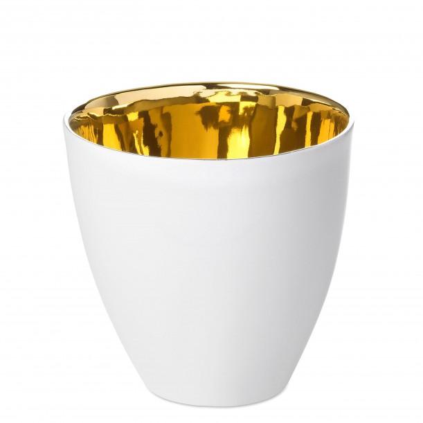 Coffee Cup Assoiffée Porcelain Glossy White and Gold Diam 7 cm Tsé & Tsé