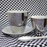 Tasse à Thé Assoiffée Porcelaine Blanc Brillant et Platine Diam 8,5 cm Tsé & Tsé