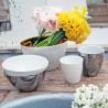 Tea Cup Assoiffée Porcelain Glossy White and Platinum Diam 8,5 cm Tsé & Tsé