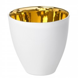 Tea Cup Assoiffée Porcelain Glossy White and Gold Diam 8,5 cm Tsé & Tsé