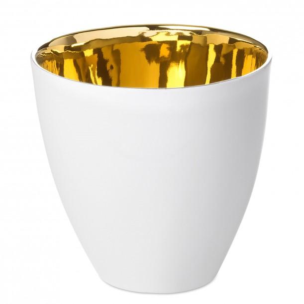 Tea Cup Assoiffée Porcelain Glossy White and Gold Diam 8,5 cm Tsé & Tsé