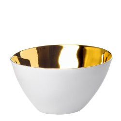 Bowl Affamé Porcelain Glossy White and Gold Diam 13 cm Tsé & Tsé