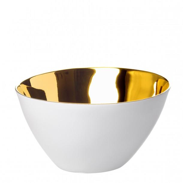 Bowl Affamé Porcelain Glossy White and Gold Diam 13 cm Tsé & Tsé