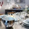 Large Bowl Affamé Porcelain Glossy White and Platinum Diam 16 cm Tsé & Tsé
