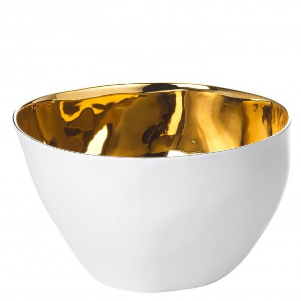 Large Bowl Affamé Porcelain Glossy White and Gold Diam 16 cm Tsé & Tsé