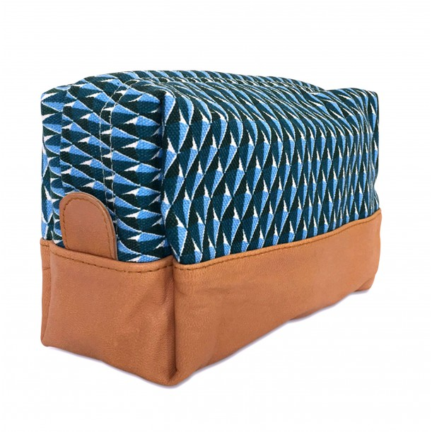 Toilet Bag Diamond Printed Canvas and Leather Bakker