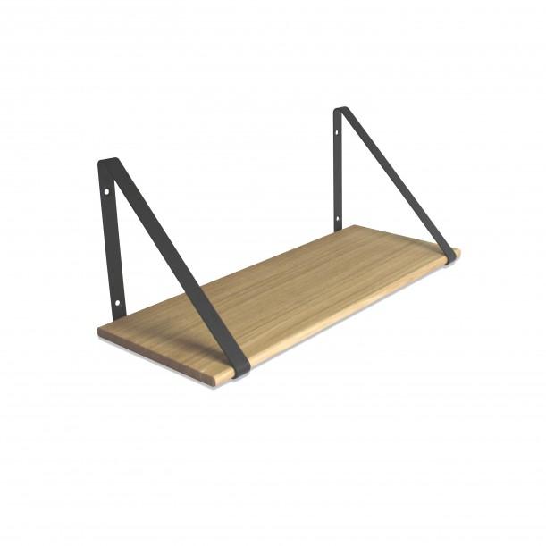 Design Shelf Natural Oak 60 x 24 cm with black metal brackets Archiv Collection