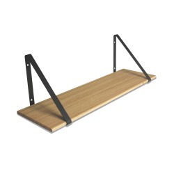 Design Shelf Natural Oak 80 x 24 cm with black metal brackets Archiv Collection