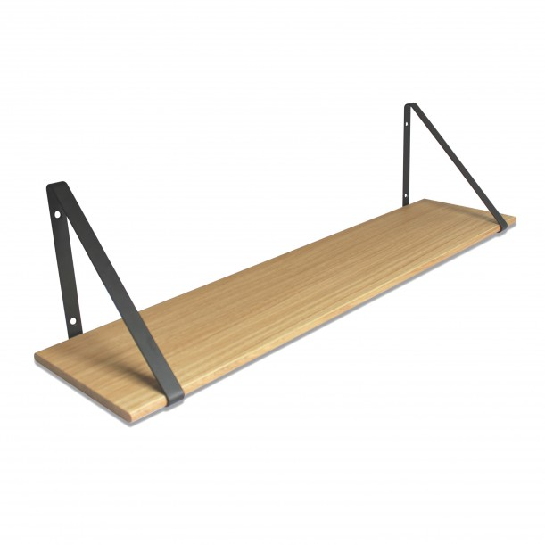 Design Shelf Natural Oak 100 x 24 cm with black metal brackets Archiv Collection